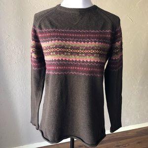 Eddie Bauer Fair Isle Sweater Brown